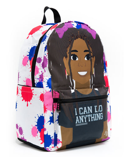 black girl on backpack with braided pigtails