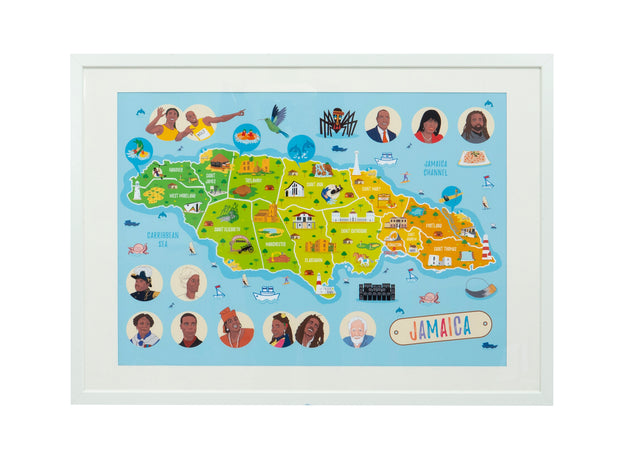 Jamaica Map Poster
