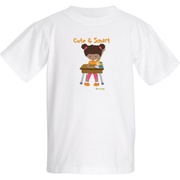 Cute and Smart Black Girl Student on White T-Shirt