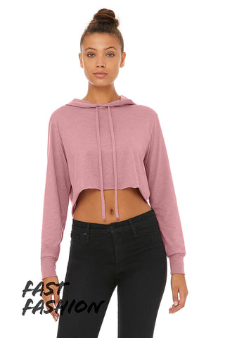 L8512 WOMEN'S CROPPED TRIBLEND HOODIE