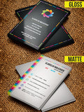 business cards showing gloss option and matte option