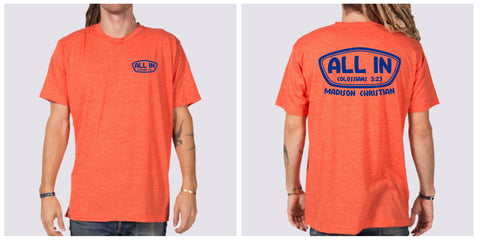 "2019 ""ALL IN"" T-shirt - Heather Orange"