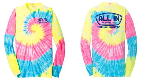 2019 ALL IN Long Sleeve T-Shirt - Tie-Dye | NEON RAINBOW