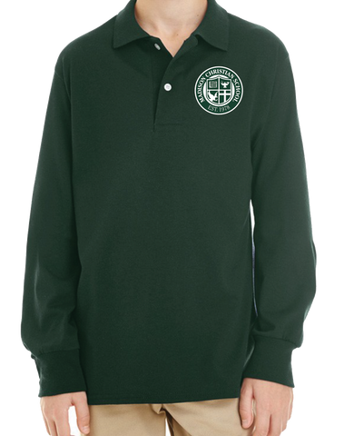 Long Sleeve Polo Shirt - Forest Green