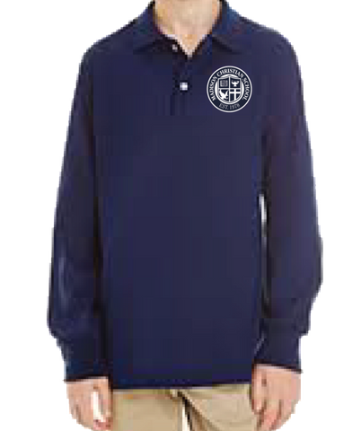Long Sleeve Polo Shirt - Navy Blue