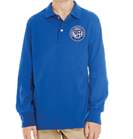 Long Sleeve Polo Shirt - Royal Blue