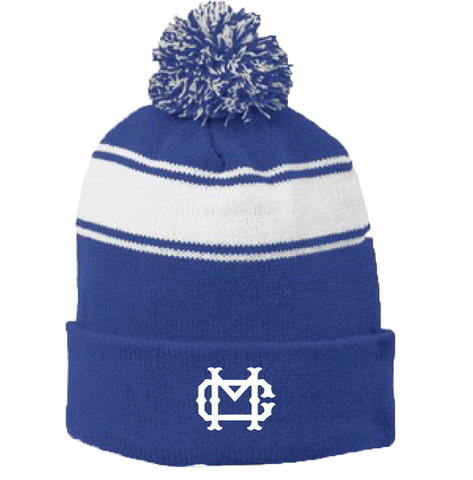 Winter Beanie Royal Blue/White with Pom