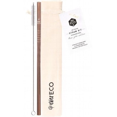 Rose Gold On-the-go Stainless Steel Straw Kit