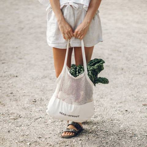 Seed and Sprout Mixed Mesh Tote Bag