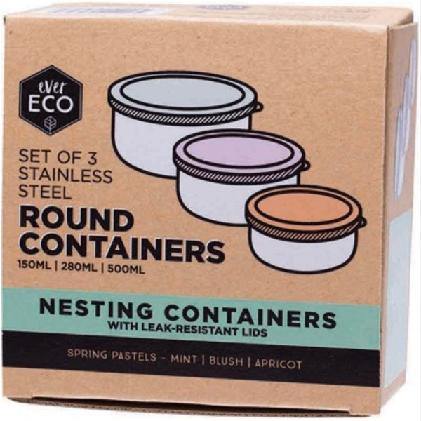 Ever Eco Round Nesting Containers Pastels - Set of 3