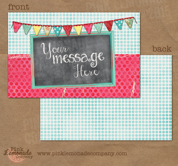 Chalkboard Kitsch Invitation Marketing Cards