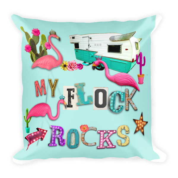 My Flock Rocks Throw Pillow