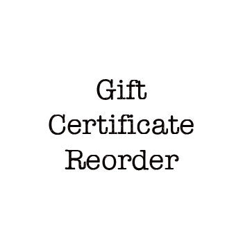 Gift Certificate Reorder