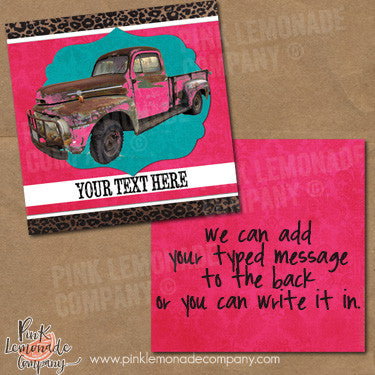 Vintage Pink Truck Marketing Cards