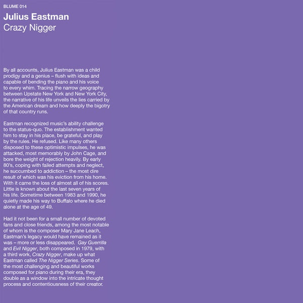 Julius Eastman - Crazy N***** LP