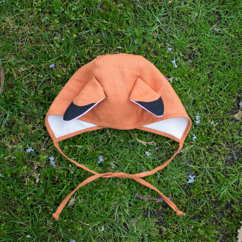 Woodland Fox Bonnet (sizes: Sm, Med, Lg, XL)