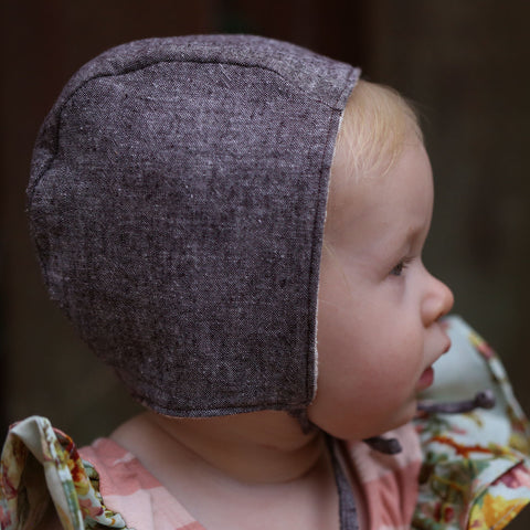 Brown Linen Cotton Chambray Bonnet