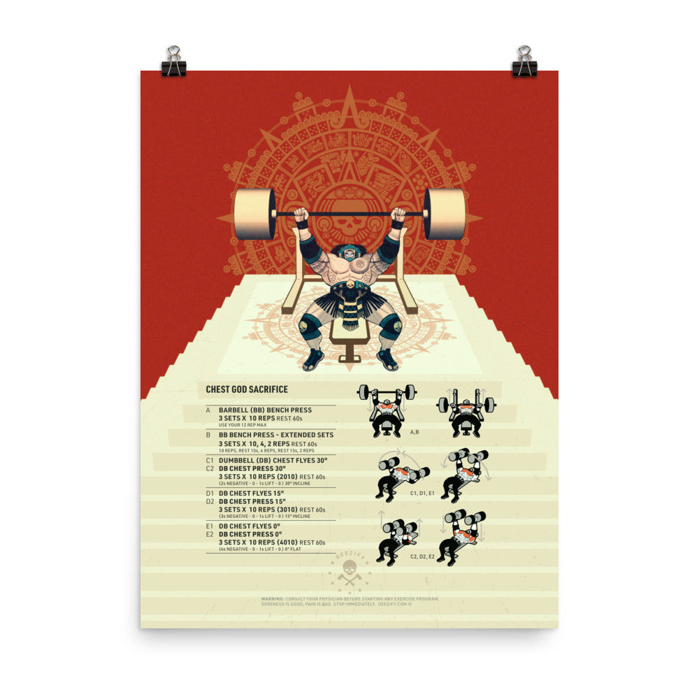 Aztec Chest God Sacrifice Poster