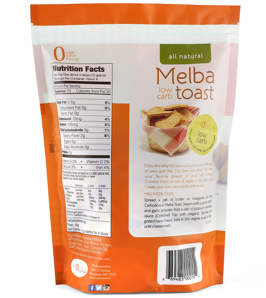 <bold>CASE OF 10</bold> Melba toast onion garlic - only 1/4 carb per slice