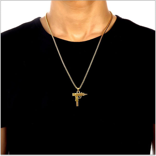 18K Gold Plated Pistol Chain Necklace