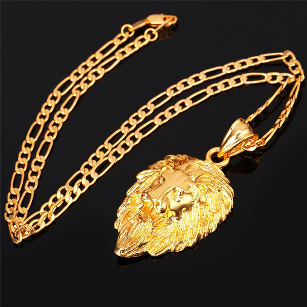 Men 18k Gold Plated Lion Head Necklace