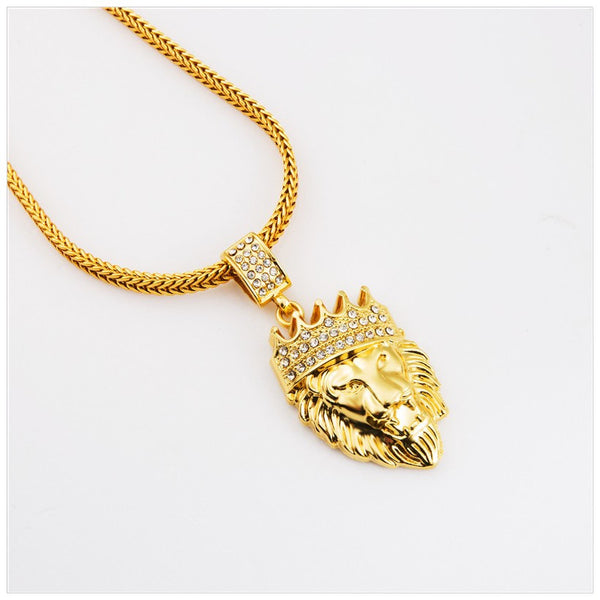18K Gold Plated Lion King with Diamonds Chain Necklace