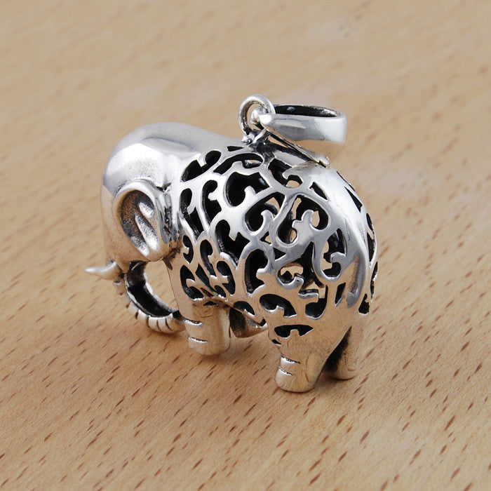 Handmade 925 sterling silver elephant pendant necklace aleph zero aloadofball Image collections