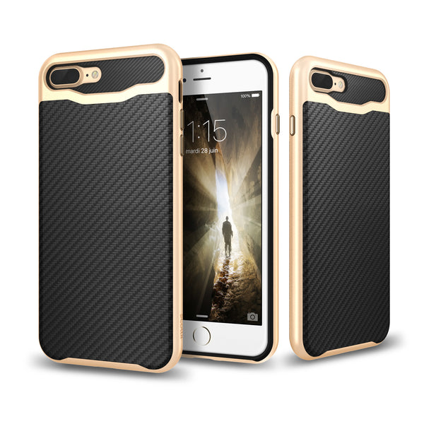 Elegant Carbon Fiber Thermo Polyurethane TPU with Polycarbonate PC Frame iPhone 7 Plus case