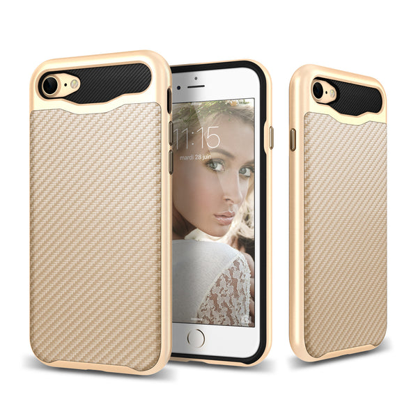 Elegant Carbon Fiber Thermo Polyurethane TPU with Polycarbonate PC Frame iPhone 7 case