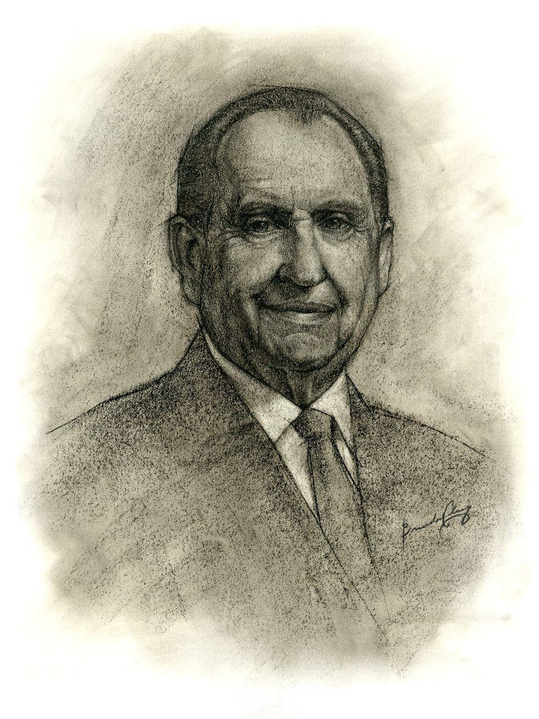 "Thomas S. Monson - by Brendan Clary - 7x5"" Post Card Size"