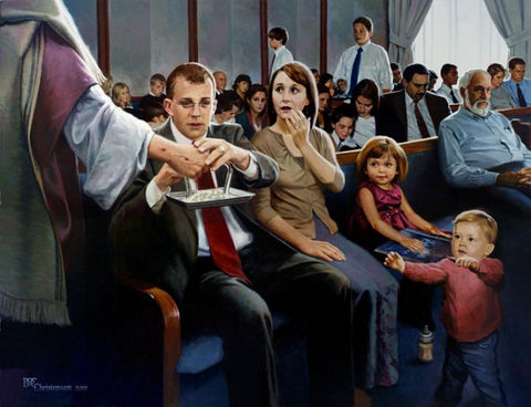 Sacrament Meeting Painting by Doc Christensen - Family Art