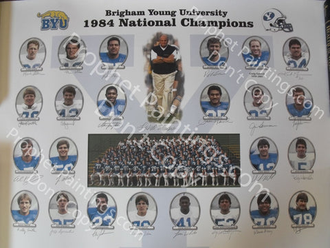 BYU NCAA Football 1984 Champions Autographed Poster