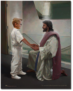 Boy At the Font - Baptism - Doc Christensen - 11x14""