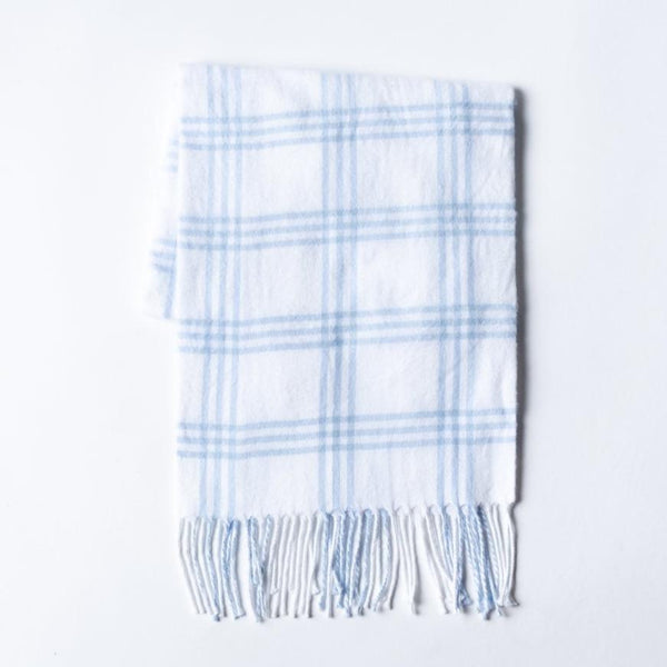 A Soft Idea Blue Window Pane Check Flannel Stroller Blanket