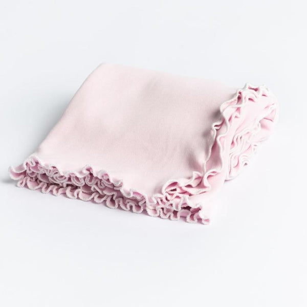 A Soft Idea Lettuce Leaf Edge Receiving Blanket with White Trim