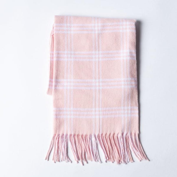 A Soft Idea Pink Window Pane Check Flannel with Fringe