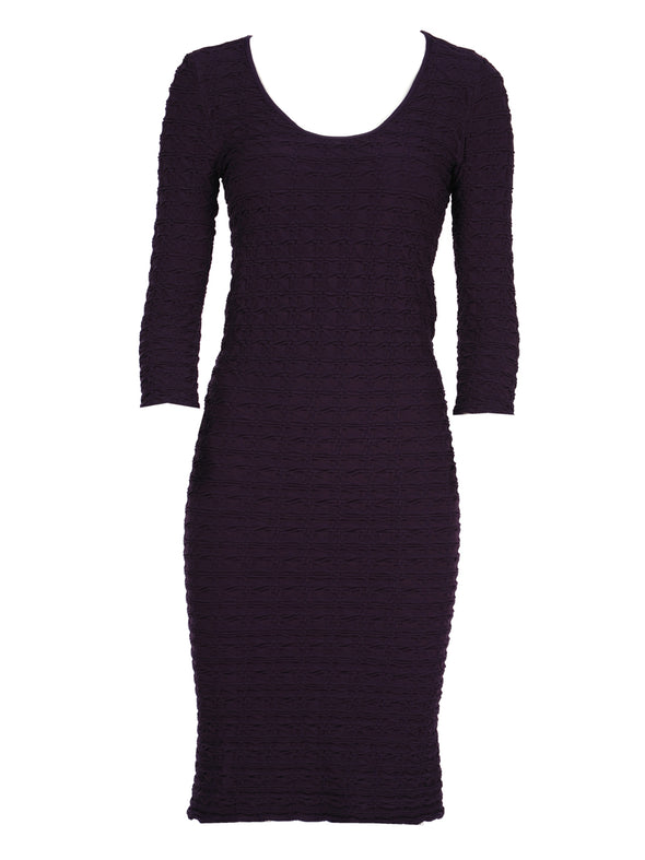 19DP-143 Eggplant Crinkle Scoop Neck Dress
