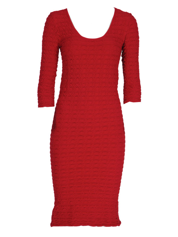 19DP-164 Paprika Crinkle Scoop Neck Dress