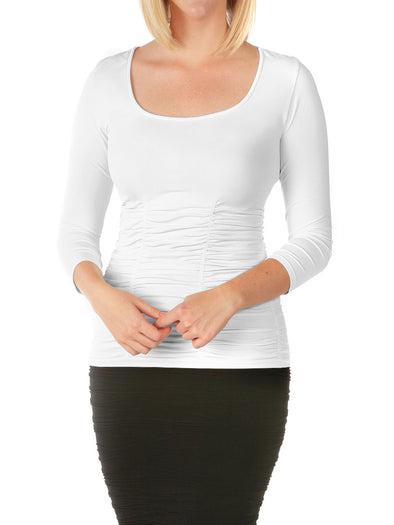 510RSQ-100 White 3/4 Sleeve Ruched Scoop Neck Top