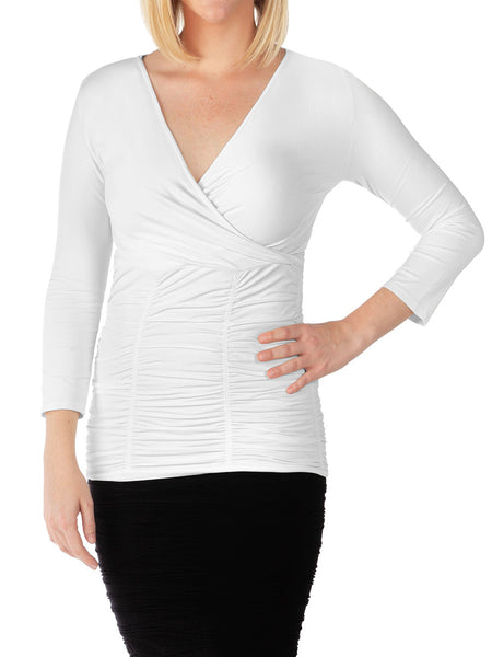 3/4 Sleeve Ruched V-Neck Top