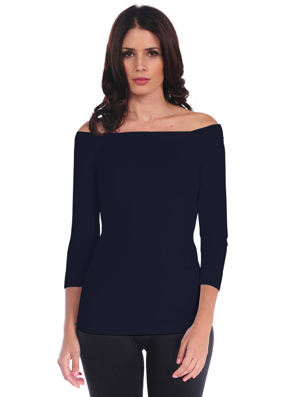 725OSQ-137 Ink 3/4 Sleeve Off Shoulder