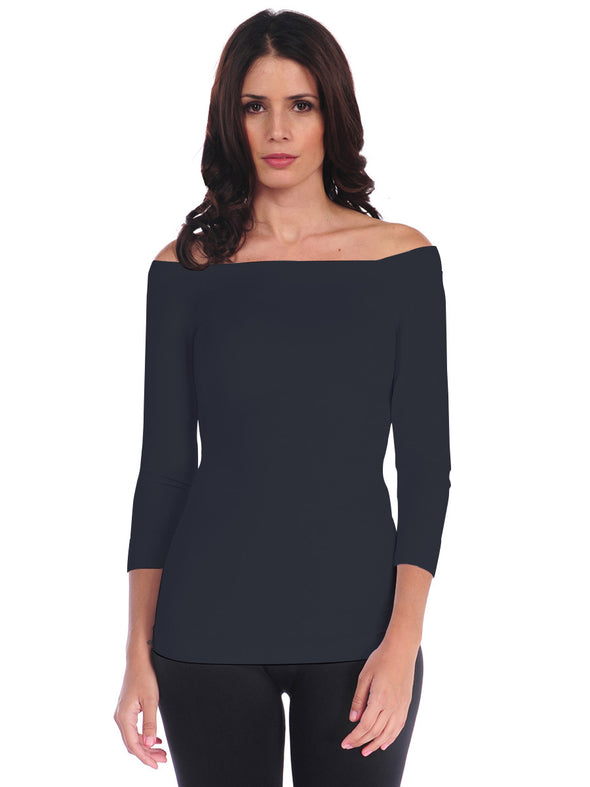 725OSQ-190 Charcoal 3/4 Sleeve Off Shoulder