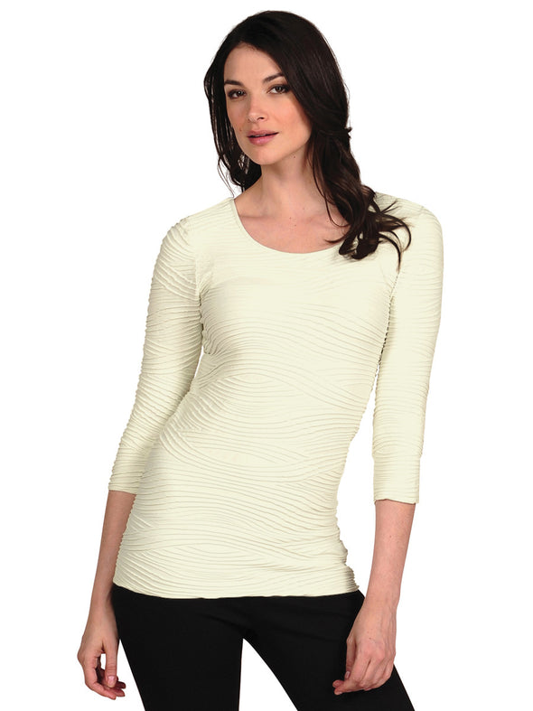 3/4 Sleeve Wave Top