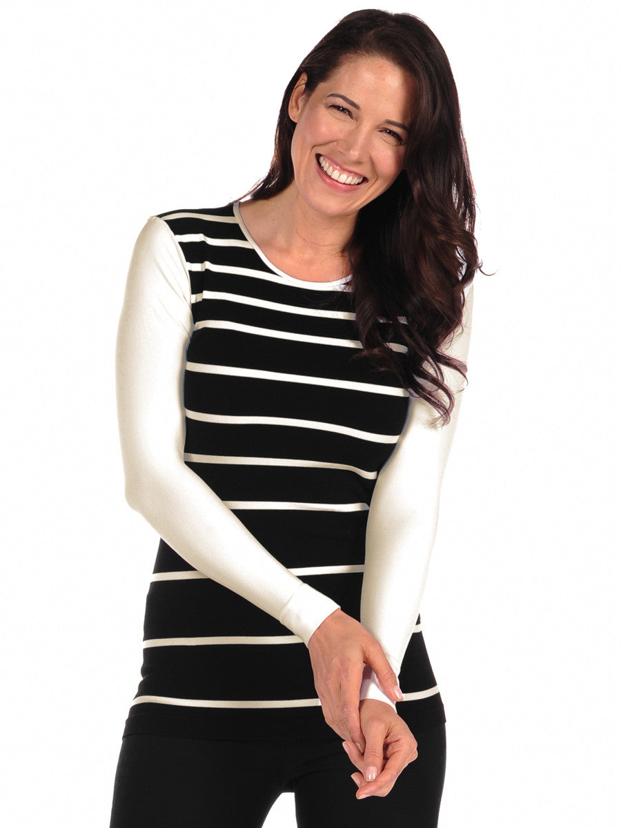 Aspen Stripe Long Sleeve Crew Neck