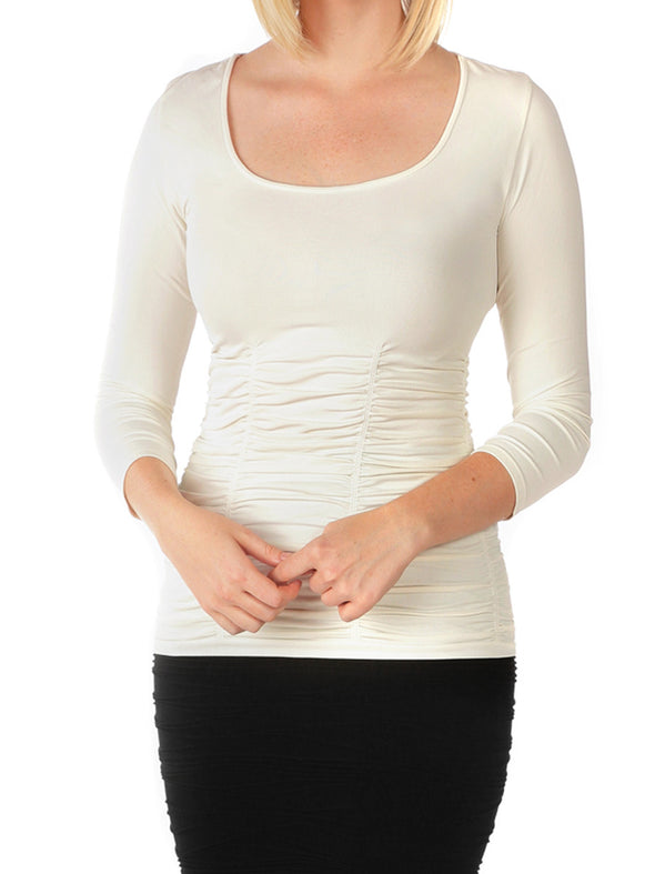 510RSQ-181 Cream 3/4 Sleeve Ruched Scoop Neck Top