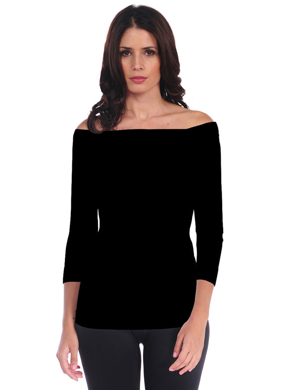 725OSQ-191 Black 3/4 Sleeve Off Shoulder