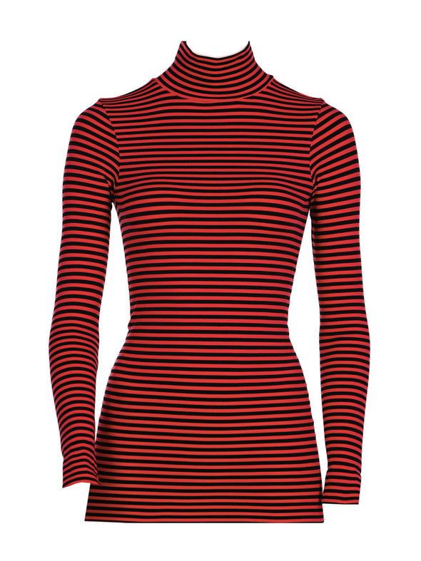 Long Sleeve Striped Mock Neck
