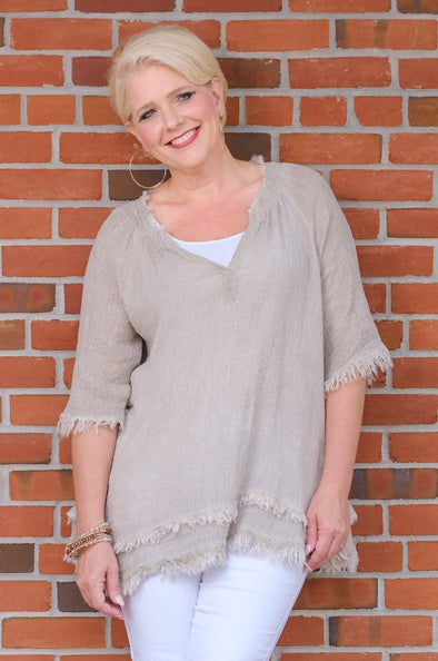 BB104-241 Taupe Enzyme Zariah Ballet Slv Crinkle Linen Raw Edge Top