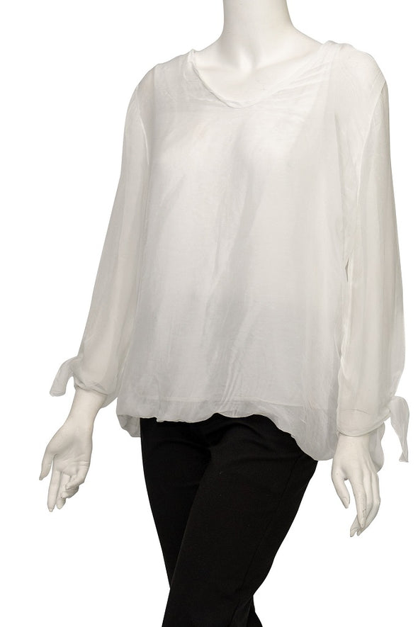 BLS218-100 White Tiffany Long Sleeve Silk V-Neck Butterfly Bottom Open Wrist