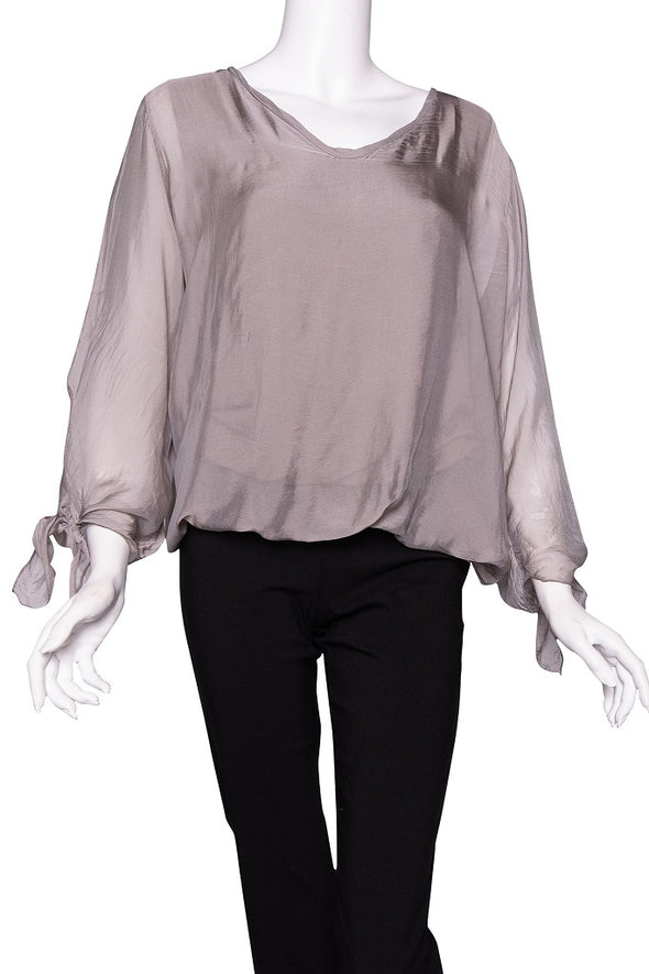 BLS218-210 Taupe Tiffany Long Sleeve Silk V-Neck Butterfly Bottom Open Wrist